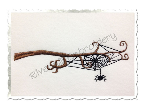 Spider Web On A Branch Machine Embroidery Design