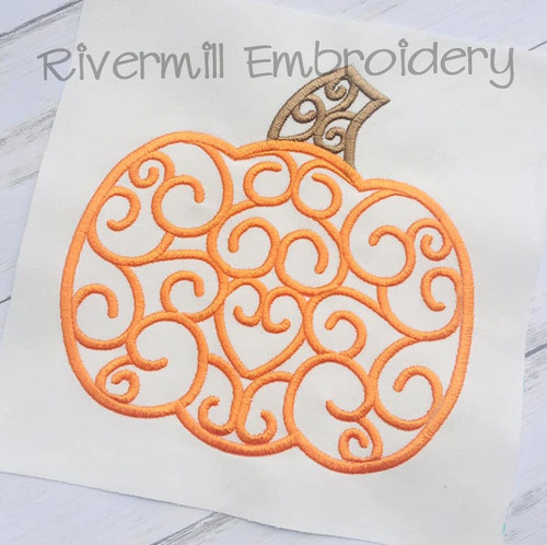Swirl Pumpkin Machine Embroidery Design