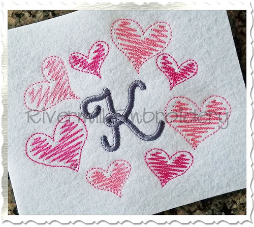 Scribble Hearts Frame Machine Embroidery Design
