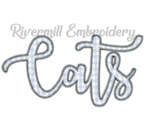 Zig Zag Applique Script Cats Machine Embroidery Design