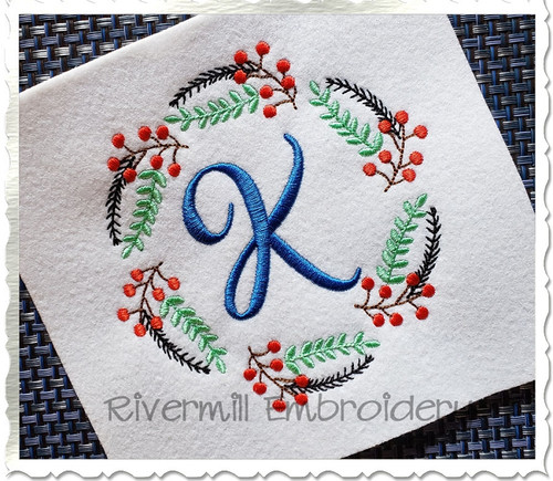 Floral Leaves & Berries Monogram Frame Machine Embroidery Design