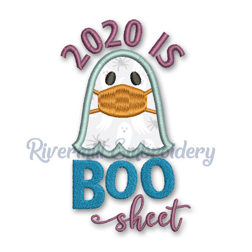 2020 Is Boo Sheet Applique Ghost Machine Embroidery Design