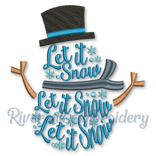 Let It Snow Snowman Machine Embroidery Design