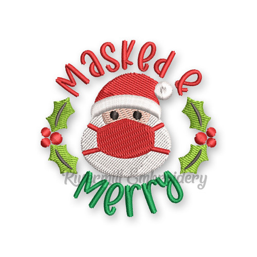 Small Masked and Merry Santa Claus Christmas Machine Embroidery Design