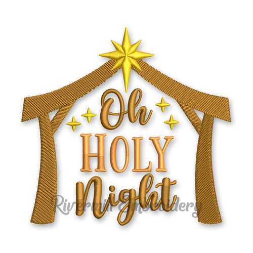 Oh Holy Night Christmas Machine Embroidery Design