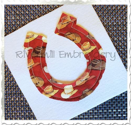 Raggy Applique Horseshoe Machine Embroidery Design