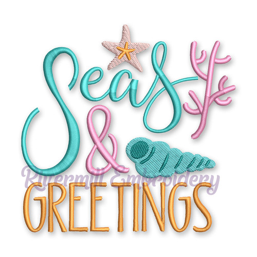 Seas And Greetings Season Greetings Christmas Machine Embroidery Design