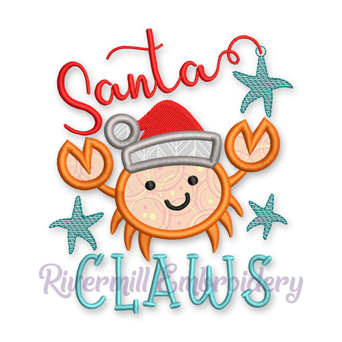 Santa Claws Christmas Crab Applique Machine Embroidery Design