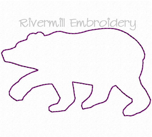 Small Raggy Applique Walking Bear Silhouette Machine Embroidery Design