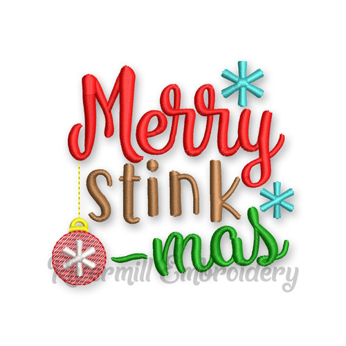 Merry Stink-Mas Christmas Toilet Paper Machine Embroidery Design
