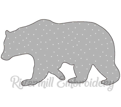 Large Raggy Applique Walking Bear Silhouette Machine Embroidery Design (Version 2)