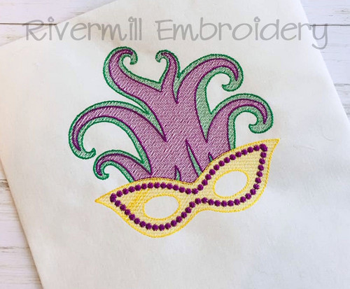 Mardi Gras Mask Sketch Style Machine Embroidery Design