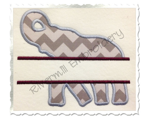 Split Applique Elephant Silhouette Machine Embroidery Design