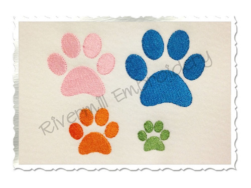 Small Paw Print Machine Embroidery Design