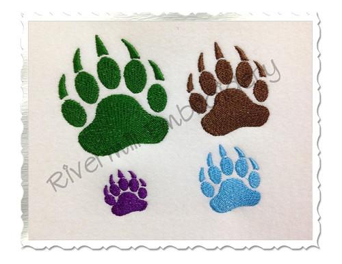 Small Bear Paw Print Machine Embroidery Design