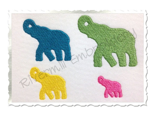Mini Elephant Silhouette Machine Embroidery Design