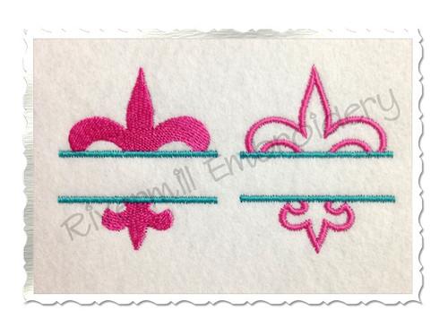Small Split Fleur De Lis Machine Embroidery Design - Outline & Filled