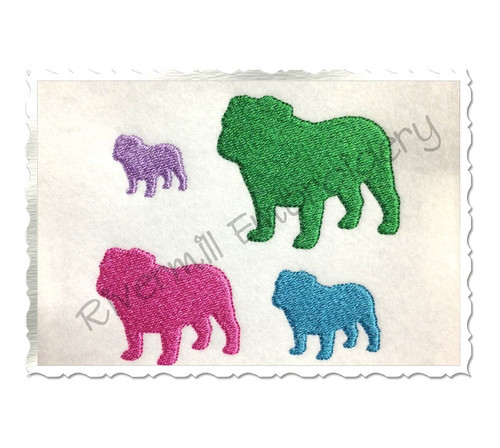 Mini Bulldog Silhouette Machine Embroidery Design
