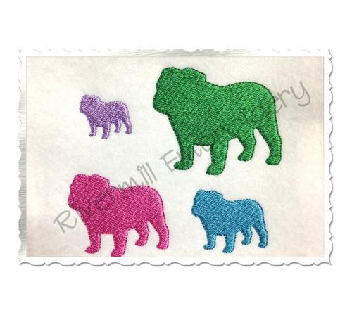 Mini Bulldog Silhouette Machine Embroidery Design