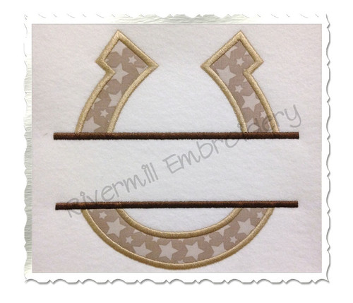 Applique Split Horseshoe Machine Embroidery Design