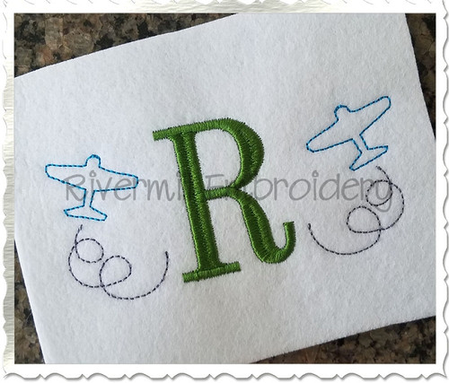 Mini Airplane Outline Machine Embroidery Design
