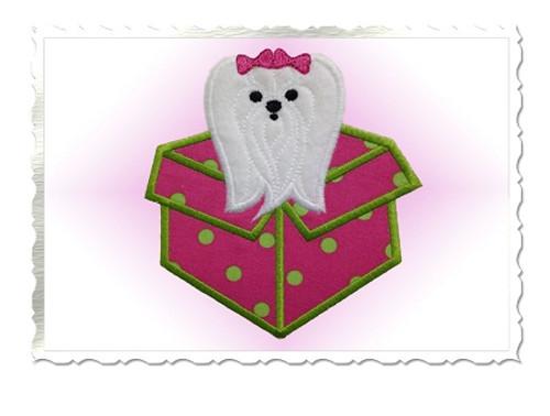 Maltese Puppy In a Present Appplique Machine Embroidery Design