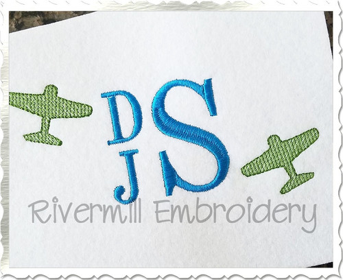 Mini Sketch Airplane Machine Embroidery Design