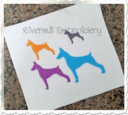 Mini Doberman Silhouette Machine Embroidery Design