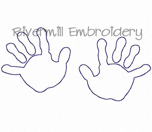 Baby Handprints Outline Machine Embroidery Design
