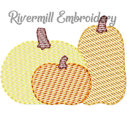 Mini Sketch Pumpkins Pumpkin Trio Machine Embroidery Design