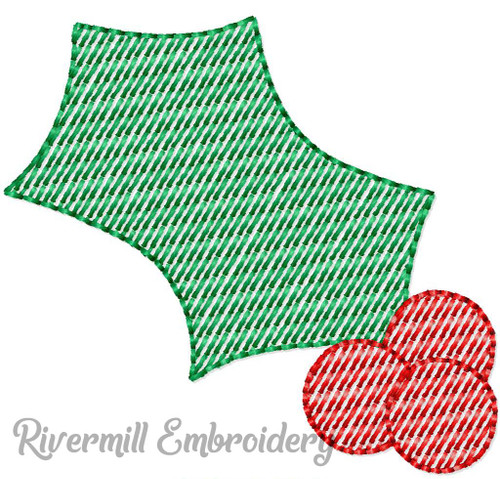 Mini Sketch Holly & Berries Machine Embroidery Design