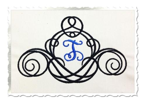 Vine Monogram Font Frame Machine Embroidery Design