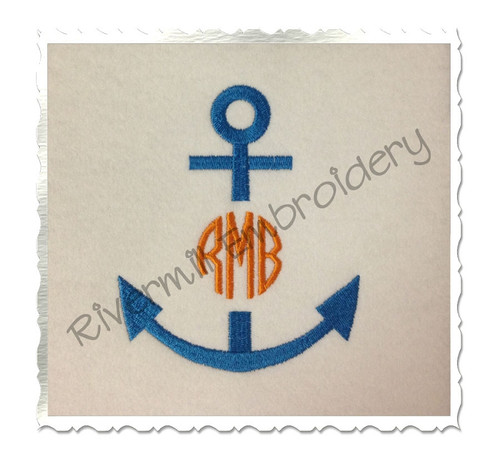 Anchor Monogram Frame Machine Embroidery Design