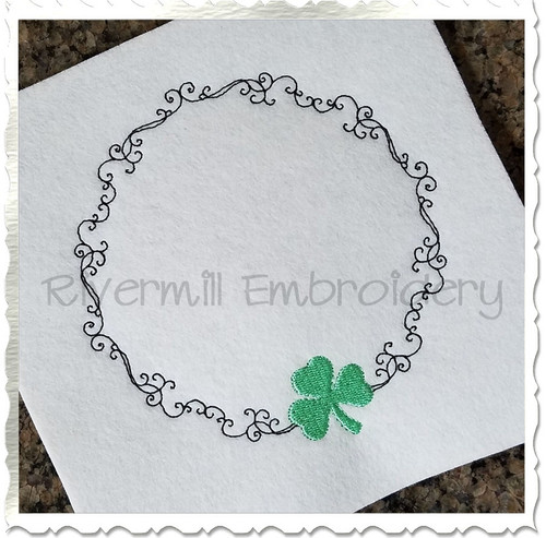 Shamrock Monogram or Initial Frame Machine Embroidery Design