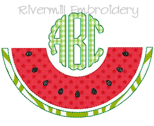 Watermelon Raggy Applique Monogram Frame Machine Embroidery Design