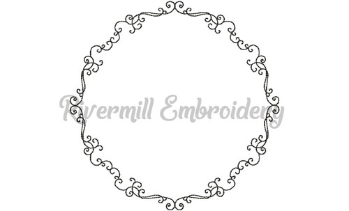 Swirls Monogram or Initial Frame Machine Embroidery Design