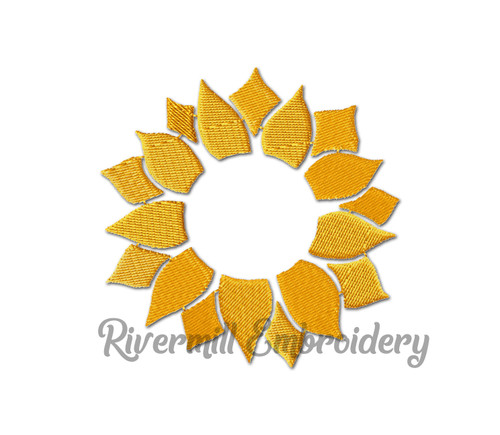 Sunflower Monogram or Initial Frame Machine Embroidery Design