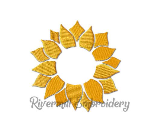 Sunflower Monogram or Initial Frame Machine Embroidery Design