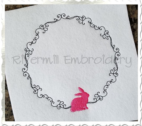 Bunny Rabbit Monogram or Initial Frame Machine Embroidery Design