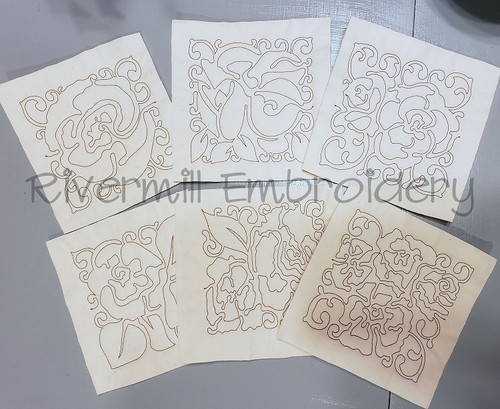 Set of 6 Floral Quilt Blocks Machine Embroidery Designs
