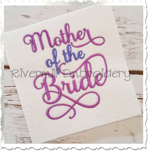 Mother of the Bride Machine Embroidery Word Design