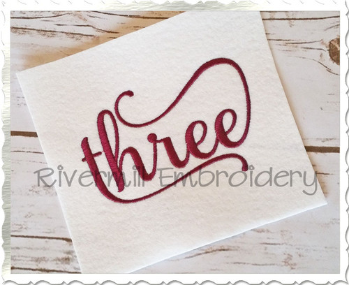 Three Machine Embroidery Word Design
