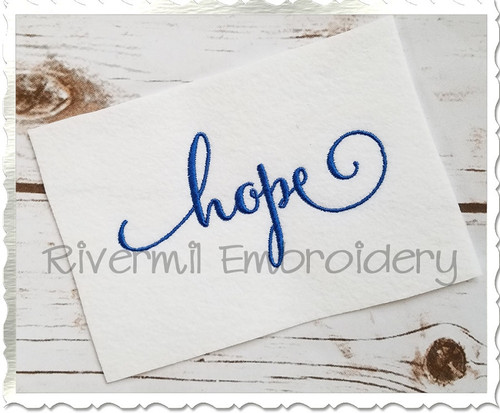 Hope Machine Embroidery Word Design