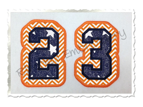 Double Applique Varsity Athletic Style Numbers Machine Embroidery Design