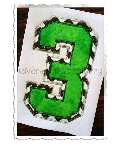 Large Zig Zag Double Applique Varsity Athletic Style Numbers Machine Embroidery Designs