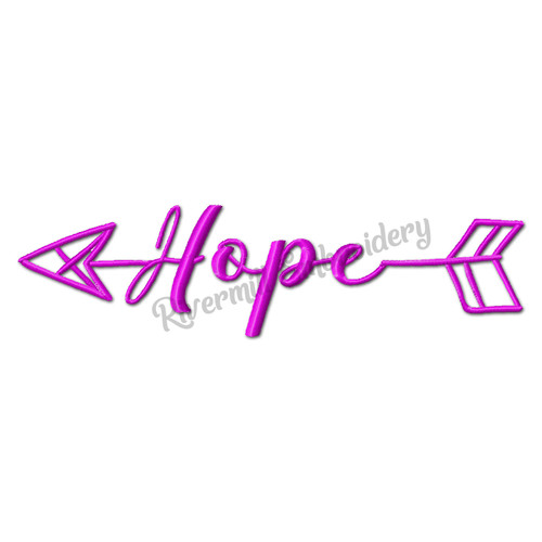 Hope With An Arrow Machine Embroidery Word Design