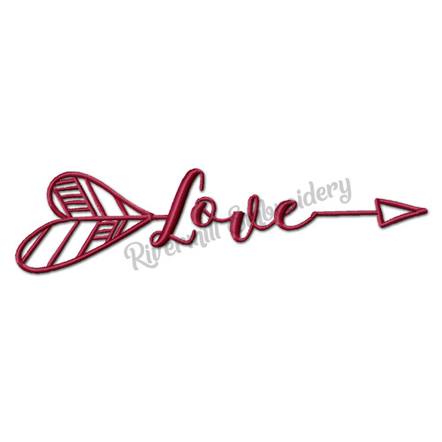Love With An Arrow Machine Embroidery Word Design