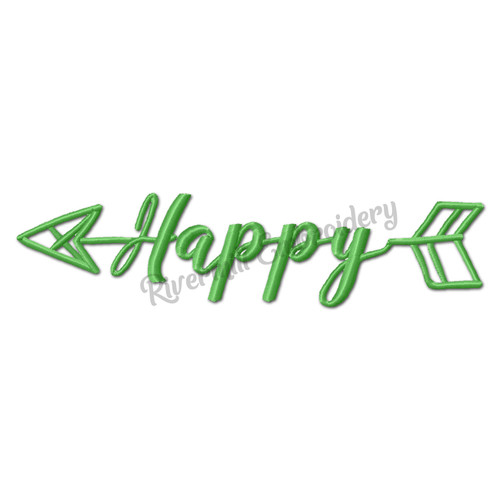 Happy With An Arrow Machine Embroidery Word Design
