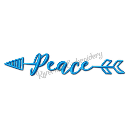 Peace With An Arrow Machine Embroidery Word Design