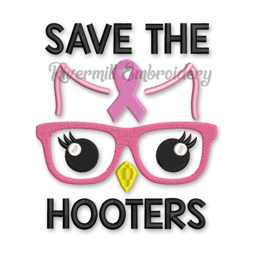 Save The Hooters Breast Cancer Awareness Ribbon Machine Embroidery Design